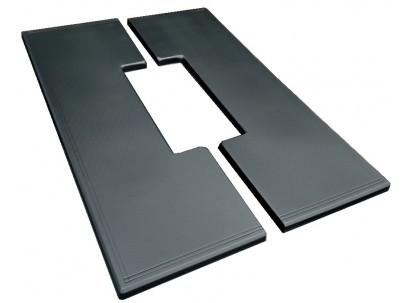 Форма плиты противоусадочной под памятник №9. Размеры 1950х650х50мм, вырез 790х170мм
